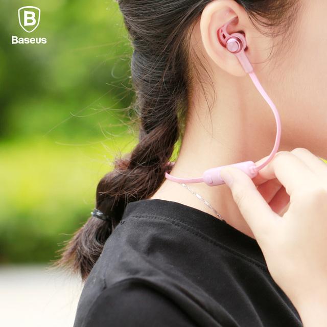 Baseus magnética auricular bluetooth inalámbrico deporte de auriculares estéreo con micrófono en la oreja los auriculares auriculares para mp3 mp4 del auricular