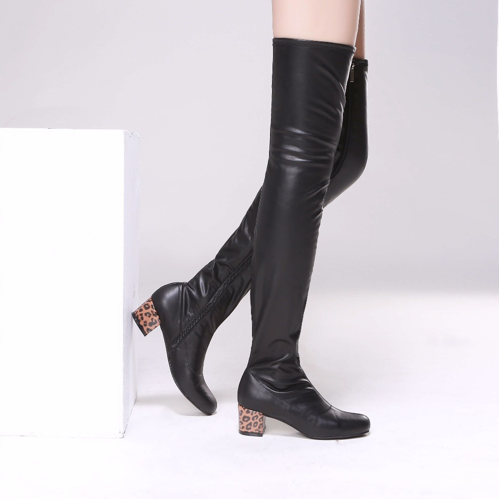 Women Leather Slim Thigh High Boots Leopard Heels Over the Knee Celebrity Shoes Plus Size EU35-EU42Women Leather Slim Thigh High Boots Leopard Heels Over the Knee Celebrity Shoes Plus Size EU35-EU42