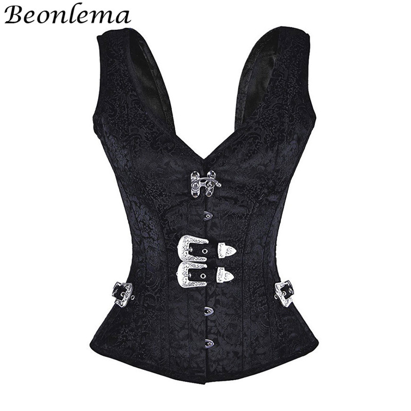Beonlema Black Gothic   Corset   Sexy   Bustier   Women Steel Bone Steampunk   Corsets   Overbust Goth Korse Top Vintage Femme Corselet