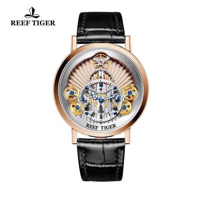 2019 nuevo arrecife Tigre/RT diseñador para hombre Casual relojes de cuarzo de moda esqueleto relojes en oro rosa RGA1958