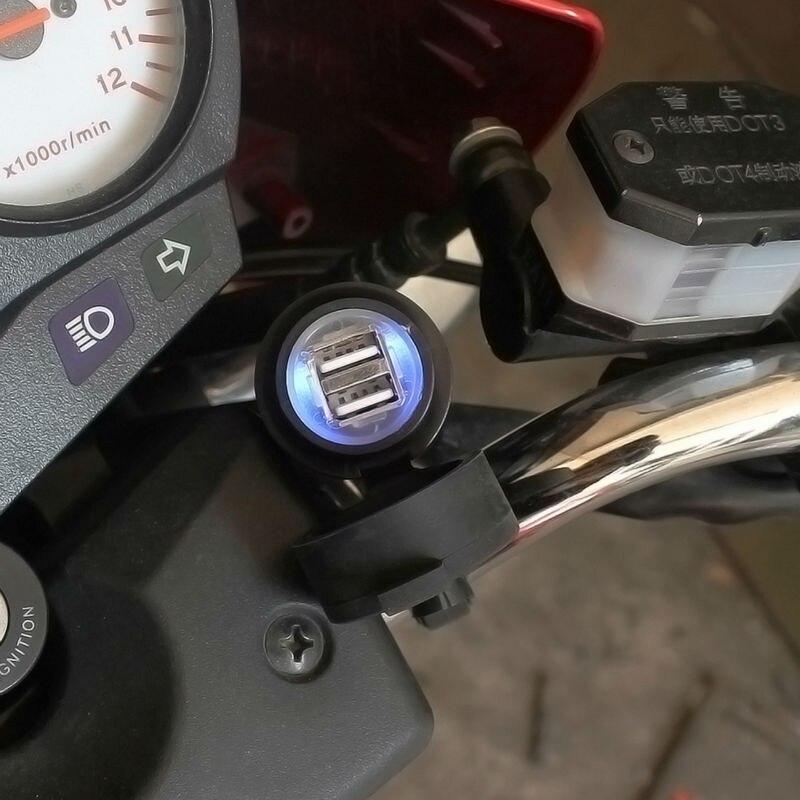 À prova dwaterproof água 12 v dupla usb carregador da motocicleta tomada porta moto guiador montado carregador 5 v 2.1a