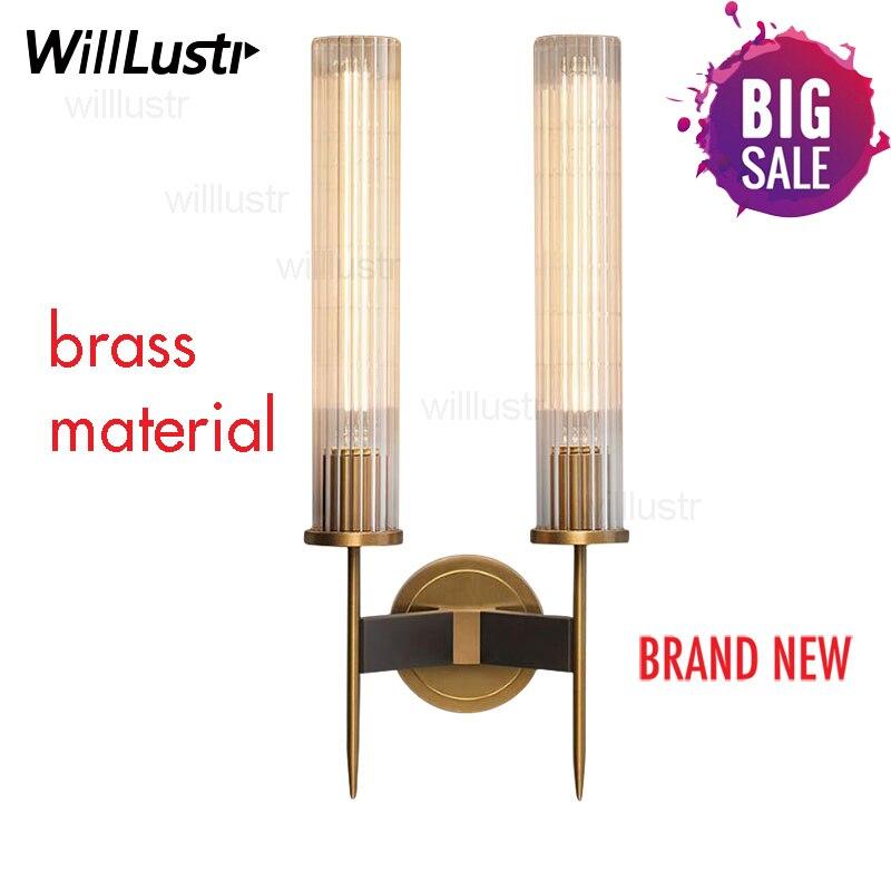 Modern Brass Wall Lamp Sconce Ribbed Long Glass Vintage Retro Copper Hotel Restaurant Loft Bar Bedroom Bedside Vanity Wall Light end table