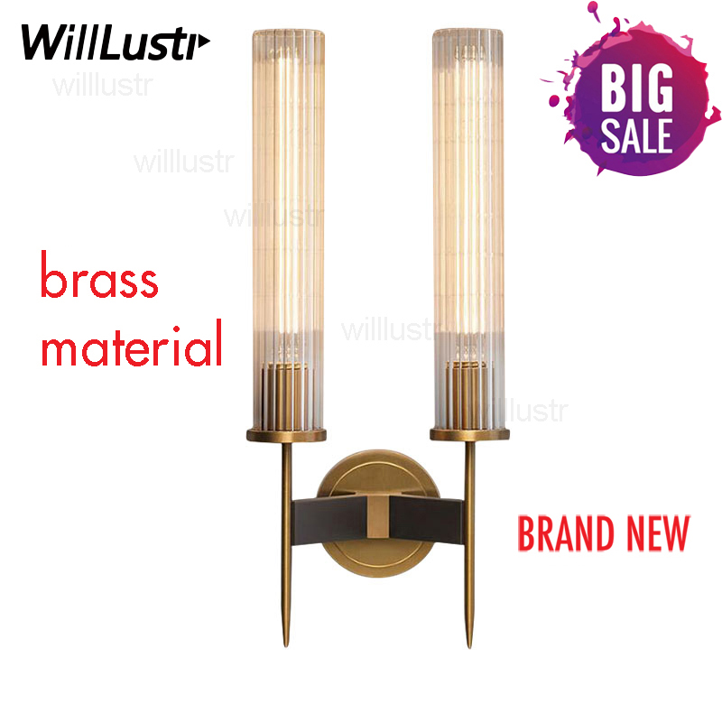 Modern Brass Wall Lamp Sconce Ribbed Long Glass Vintage Retro Copper Hotel Restaurant Loft Bar Bedroom Bedside Vanity Wall Light-in LED Indoor Wall Lamps from Lights & Lighting