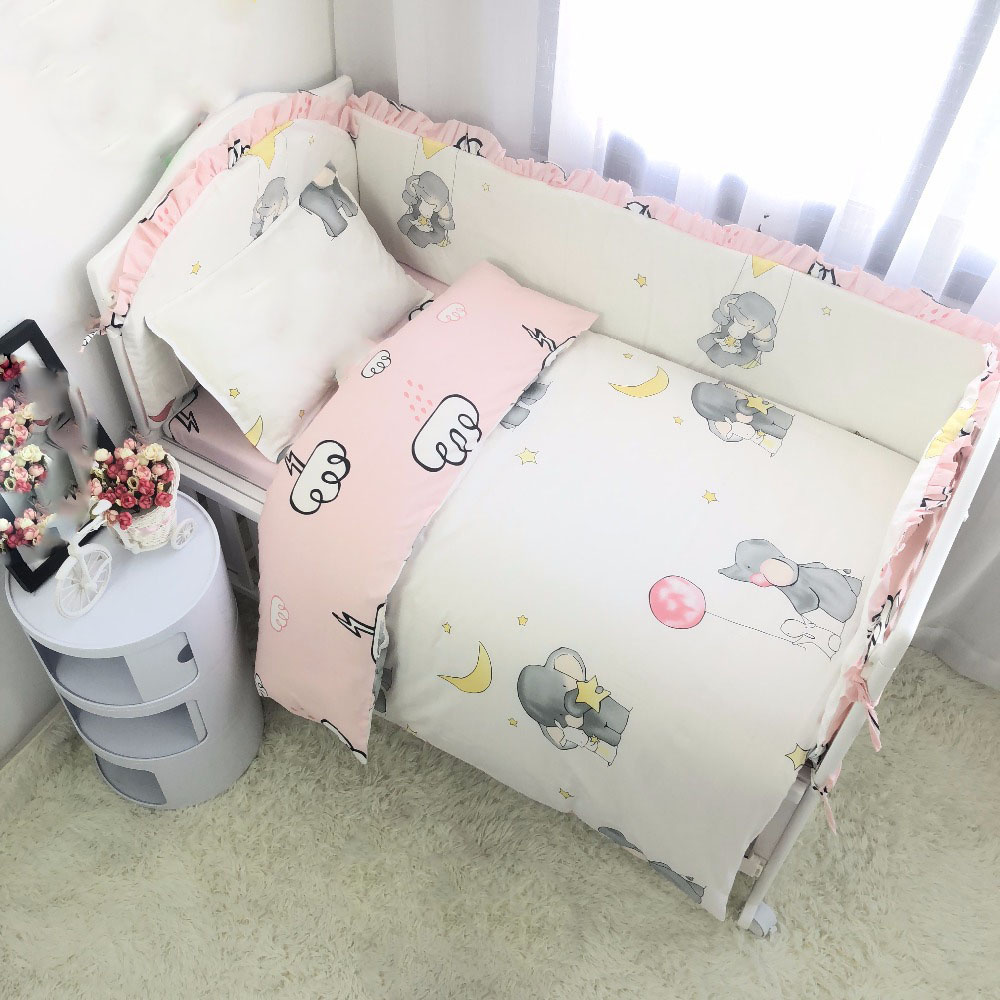 7Pcs Cotton Baby Bedding Set 100% Cotton Crib Bedding Set Baby Cot Protector Safe Bumpers Bed Sheet Quilt Cover Pillowcase