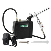 OPHIR Dual Action Airbrush Kit with Mini Air Compressor 0.3 Air brush for Body Paint Nail Art Makeup Model Hobby_AC003W+073+011