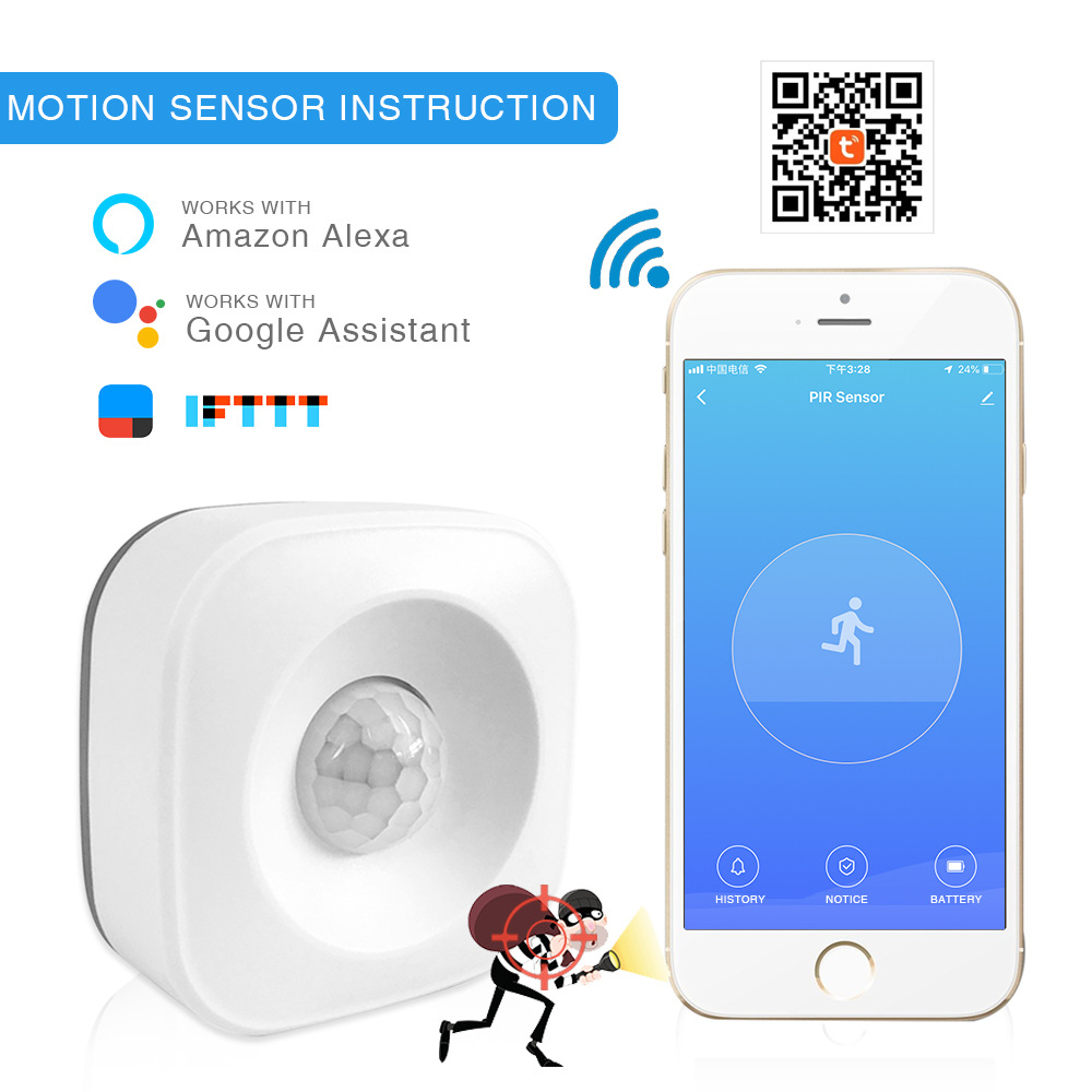 Tuya WiFi PIR Motion Sensor Human Body Infrared Security Alarm Detector Compatible Alexa Google Home IFTTT Smart Home Automation
