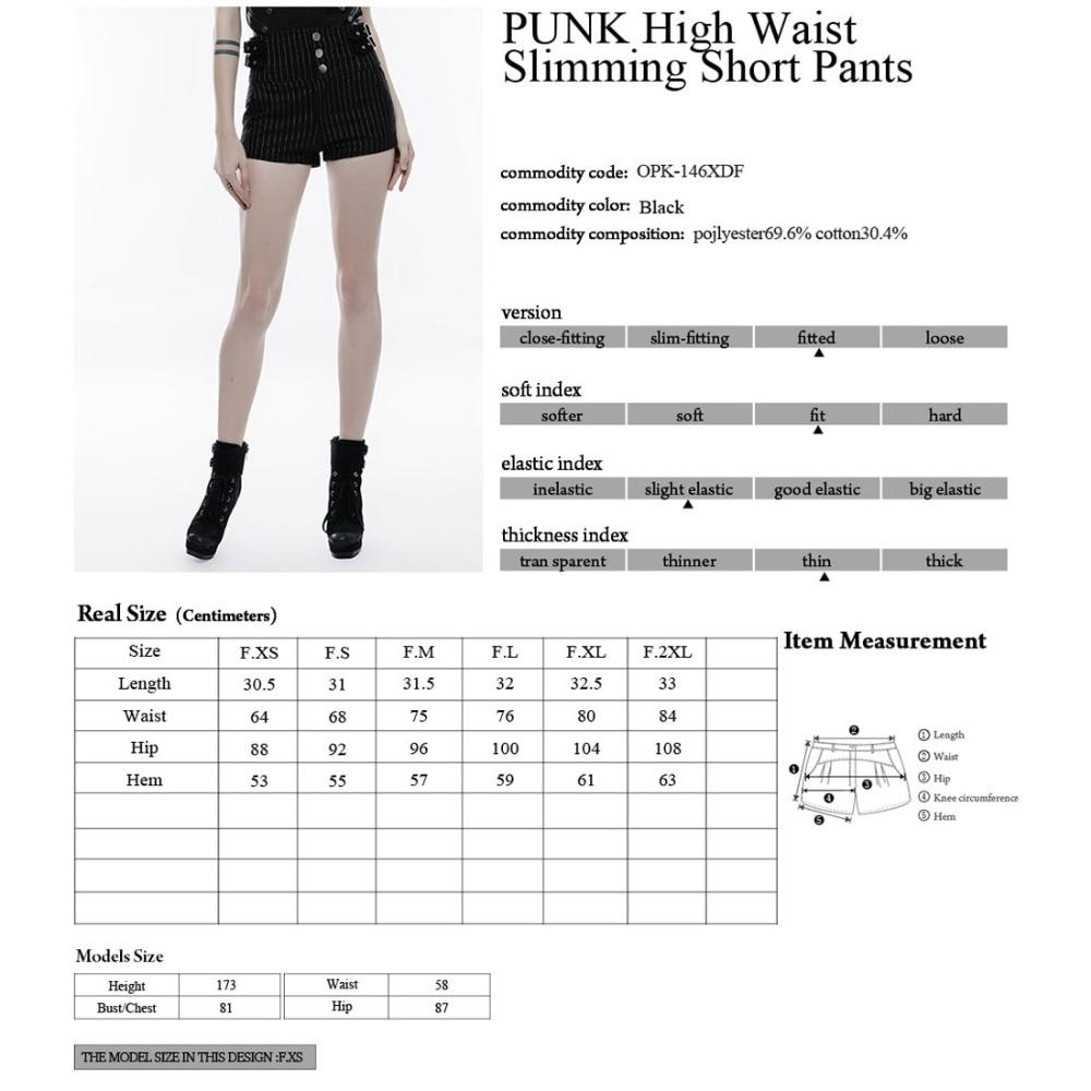 Rock Opk146 Minceur Et Bretelles Noir Bouton Sexy Shorts Punk Haute Rayé Blanc Taille Court xBQWdoerC