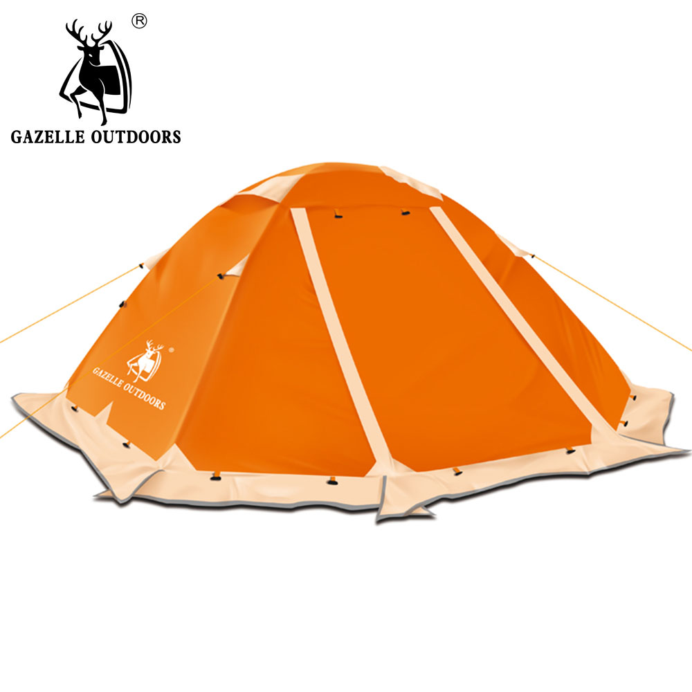 camping tent outdoor double layer waterproof tourist hiking tent travel tents Aluminum Pole with skirt waterproof tourist tents 2 person outdoor camping equipment double layer dome aluminum pole camping tent with snow skirt