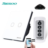 EU Standard SESOO Remote Control Switch 2 Gang 1 Way Crystal Glass Switch Panel Remote Wall