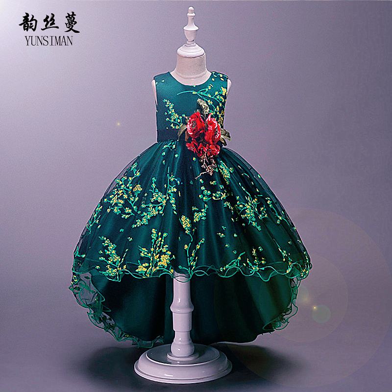Brand Girls Dress Summer 2019 Flower O-neck Green Red Tailed Party Dresses Girls Princess Costume for Big Girl 3 to 14 Year 3A1ABrand Girls Dress Summer 2019 Flower O-neck Green Red Tailed Party Dresses Girls Princess Costume for Big Girl 3 to 14 Year 3A1A