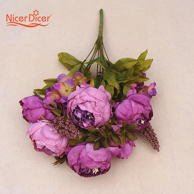 Online Shop New Artificial Fake Peony Silk Purple Flowers Bridal ...