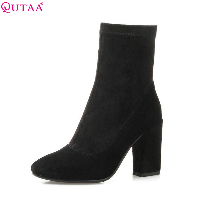QUTAA 2018 Women Ankle Boots Cow Suede Fashion Zipper Round Toe Square High Heel Solid Westrn Style Women Boots Size 34-39 vinlle women boot square low heel pu leather rivets zipper solid ankle boots western style round lady motorcycle boot size 34 43