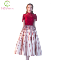 SSYFashion 2017 New Banquet Elegant Evening Dress The Bride Red Lace Stripe High Neck Tea Length