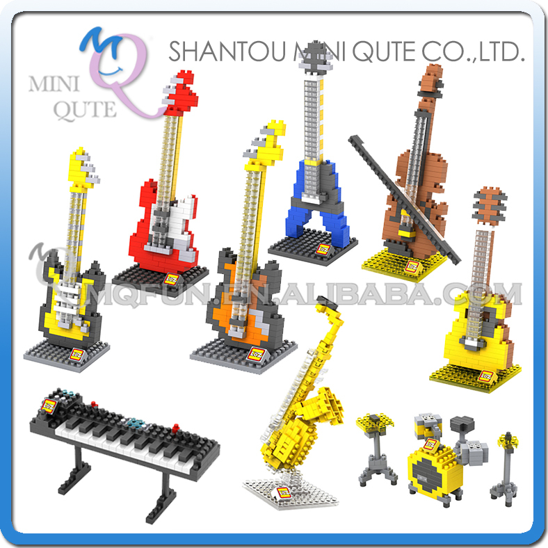 Mini Qute LOZ 9 styles musical instrument Violin Bass guitar plastic building block bricks model kids model educational toy irin professional mini 17 key accordion educational keyboard musical instrument for both kids