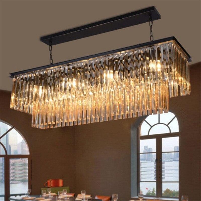Lampe à suspension de luxe en cristal RH grande suspension rectangulaire lustre créatif style champêtre lampes en fer ampoule à LED luminaire