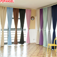 Popangel Eco friendly High Shading Office Window Curtains, polyester Solid Blackout Living room Cloth Curtains Be Customized