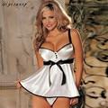 Mulheres Sexy Lingerie de Renda Branca Babydoll Vestido Pijamas roupa Roupa Interior da G-corda Feminino Frete Grátis, Dezembro 28
