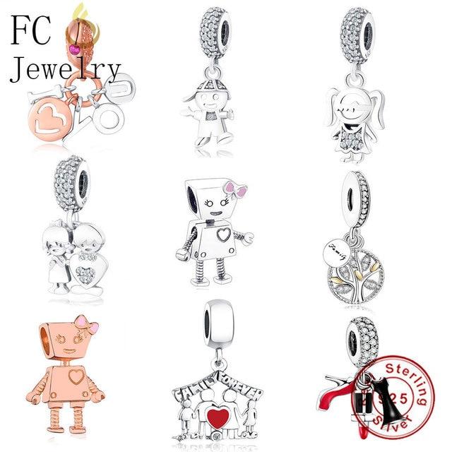 bdbaed543 FC Jewelry Fit Original Pandora Charm Bracelet 925 Silver Family Robot Boy  Girl Letter Best Friends Bead Pendant DIY Berloque