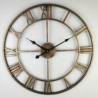 40 80cm Nordic Retro Metal Wrought Iron Roman Clock Wall Clock Modern Design Living Room Cafe Quiet Decorative Quartz Clock|Wall Clocks| |  -