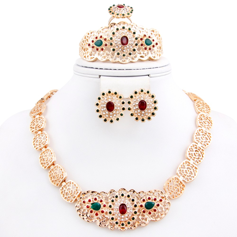 New Fashion African 18k Gold Plated Rhinestone Necklace Earrings Sets Vintage 18k Gold Plated Crystal Rhinestone