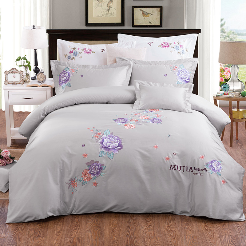 4 Colors 60S long staple cotton embroidered girls Bed Set king queen size bedding set soft bed sheet set duvet cover pillow  364 Colors 60S long staple cotton embroidered girls Bed Set king queen size bedding set soft bed sheet set duvet cover pillow  36