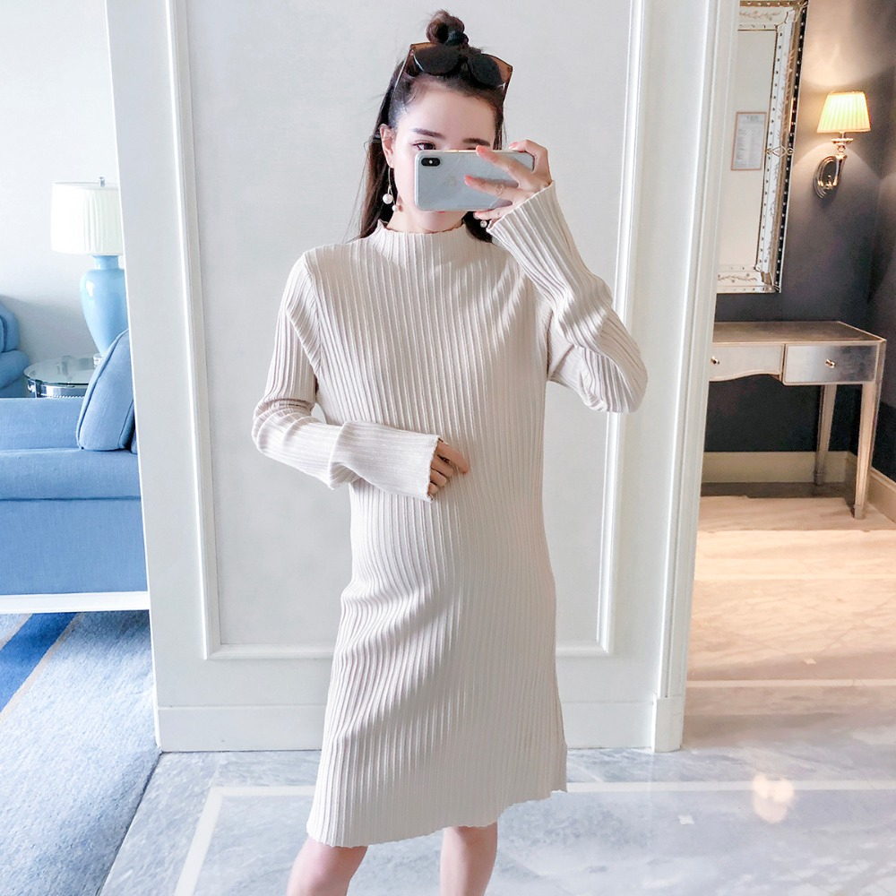 Pregnant women sweater autumn 2018 new long-sleeved base shirt Korean fashion loose slim sweater slim fit ruffle long sleeved hooded quilted coat for women