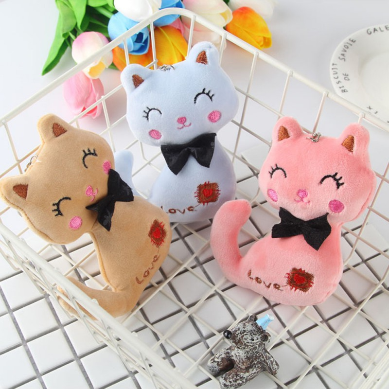 Cute 12cm New Cat Plush Bouquet Plush Dolls Random Color Shrink-Proof Kid\s Party Plush Toy Animal Stuffed Cat Key Chain Toy