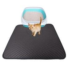 Купить с кэшбэком Double-Layer Waterproof Cat Litter Mat High Elasticity EVA Foldable Honeycomb Sifting Sanitary Pet Cats Litter Trapper Pad S/M/L