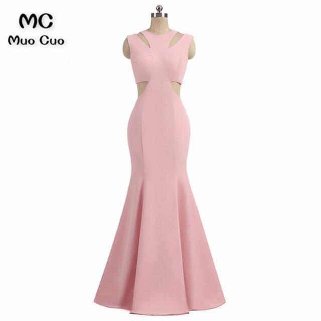 6b2ba2ec3e14 Simple 2018 Blush Pink Mermaid Prom Dresses Long Scoop Elastic Satin  Sleeveless Formal Evening Party Dress Custom Made