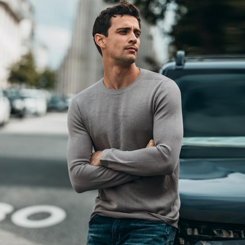 Herbst Männer Pullover Baumwolle Grün Grau Schwarz Farbe Pullover Für Mann Mode Slim Fit Kleidung 2019 Männlichen Tragen Gestrickte Tops 11867