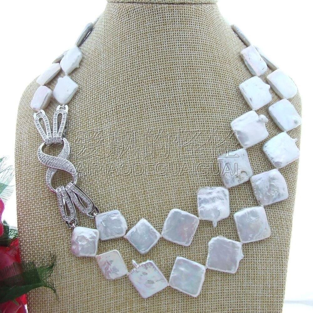 N070603 19 blanc 23 MM Keshi blanc perle deau douce collier CZ fermoirN070603 19 blanc 23 MM Keshi blanc perle deau douce collier CZ fermoir