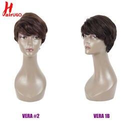 HairUGo бразильские волосы боб парик короткие Синтетические волосы на кружеве человеческих волос парики для черный Для женщин машина сделала
