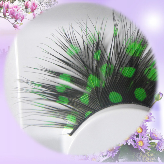 3 Pairsset Artificial Trendy Colorful Feather Flare Fake Eyelashes