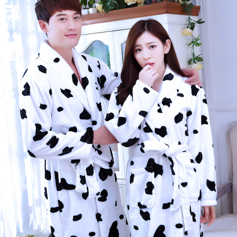 New Plush Robe Adult Couples Long Sleeve Lovely Male Female Sleepwear Bath Pajamas Dressing Gowns for Women Bathrobe B-5953