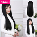 1PC  Long Synthetic Straight Wigs With Bang Korean Full Head Cosplay Wig for Black White Women Synthetic Hair Wig Cap
