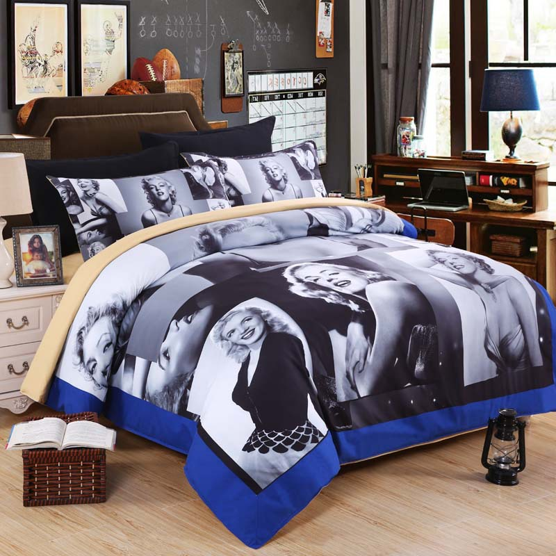 Awesome 4pcs 3D Marilyn Monroe Bedding Sets Queen Size Bedclothes Duvet Cover Set  Pillow Cases Bedcover Bedding Sets For Wedding Gift  In Bedding Sets From  Home ...