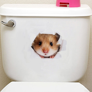 3D Cats Dogs Hamster Wall Sticker Bathroom for Home Decor kids room cute Animal Vinyl Decal Art Poster Hole View Toilet Stickers 3d cats hamster wall sticker for bathroom 3D Cats Hamster Wall Sticker For Bathroom HTB1BnbVX9tYBeNjSspaq6yOOFXaj