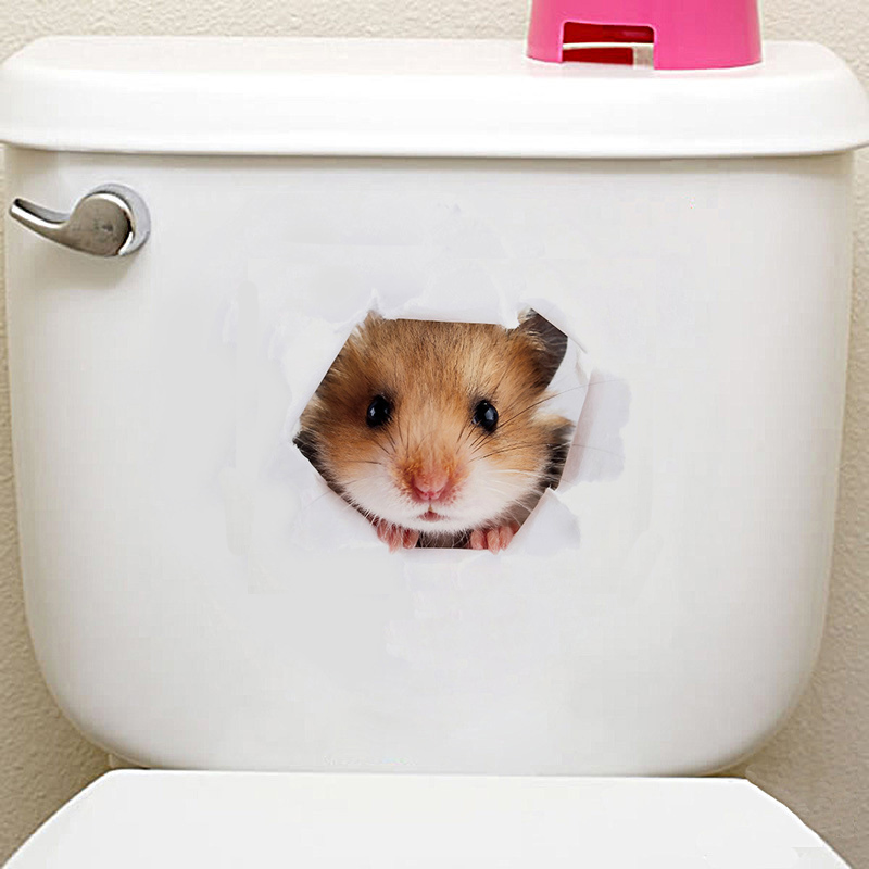 3D Cats Dogs Hamster Wall Sticker Bathroom For Home Decor Kids Room Cute Animal Vinyl Decal Art Poster Hole View Toilet Stickers
