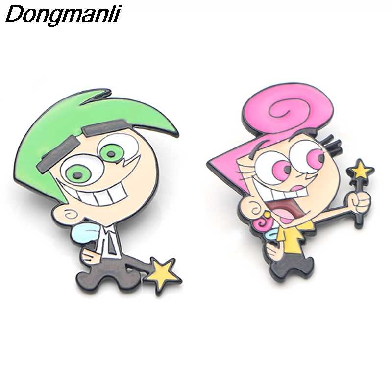 P3836 Dongmanli แฟชั่น Fairly Oddparents โลหะ Enamel Brooches และ Pins Collection Lapel Pin กระเป๋าเป้สะพายหลัง Badge เครื่องประดับ