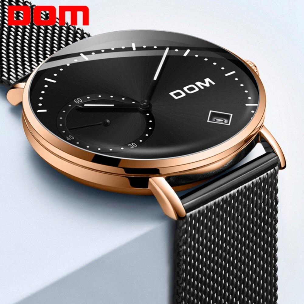 DOM Watch Men Luxury Business Gold Melt Steel Man Watch Waterproof Calendar Unique Fashion