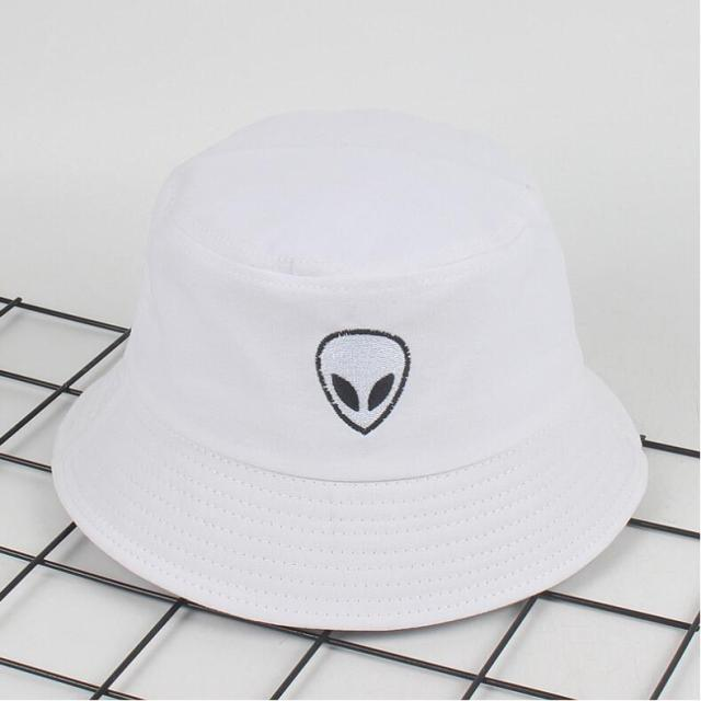 7e186102693a01 2018 black white solid Alien Bucket Hat Unisex Bob Caps Hip Hop ...