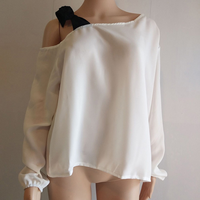 LALAIKAI Plus Size 3XL 4XL 5XL 6XL 7XL Lacing Spliced Blouse Women Chic Skew Collar Top Off Shoulder Loose Shirt Lady SWA1658-47 1