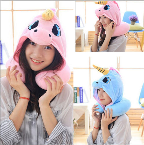 Cuite Cartoon Unicorn Neck Rest U-Shaped Travel Hooded Pillow Cushion Compact Soft Trip Airplane Bus Noon Break Need Relax Neck image