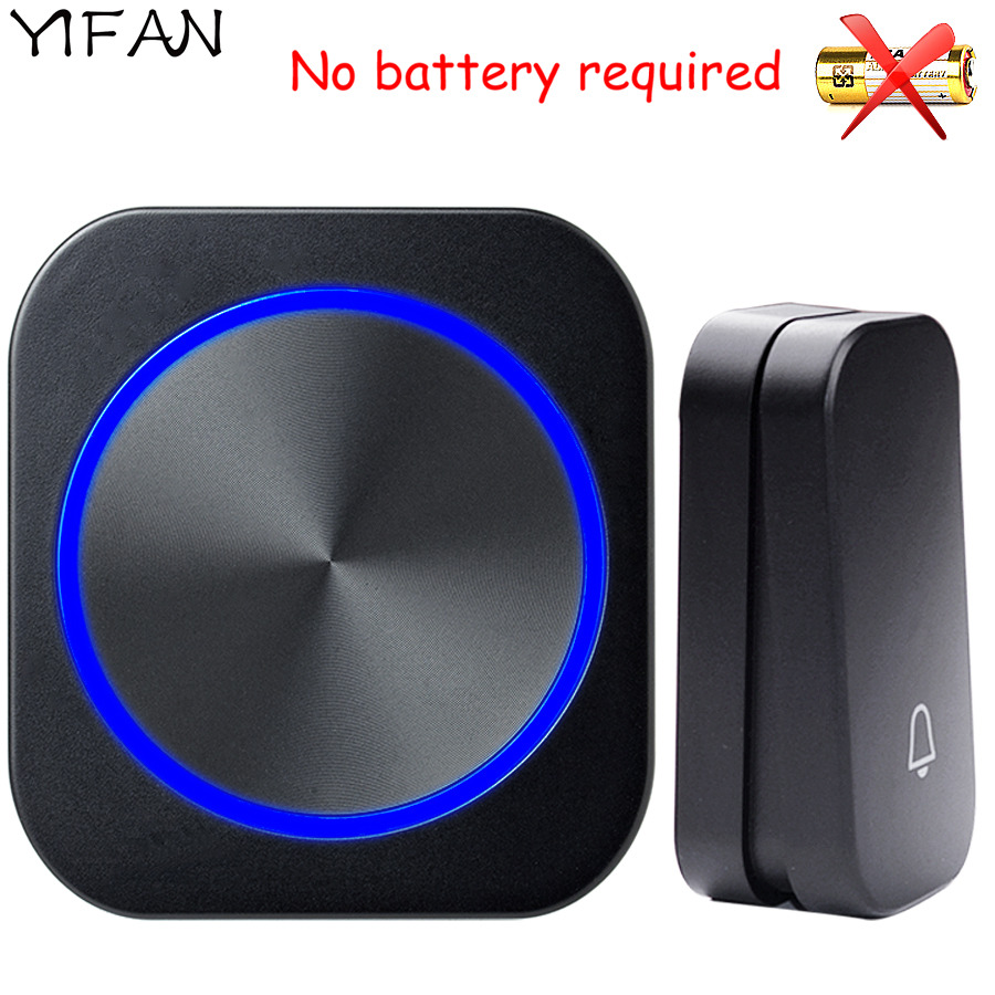 YIFAN self powered New Waterproof Wireless Doorbell EU Plug 150M Remote smart Door Bell Chime ring 1  button 1  receiver no battery Deaf Gorgeous lighting