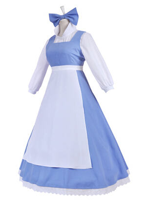 7c6c128a04 Beauty and The Beast Belle cosplay costume Halloween Custom Made Maid  Dresses