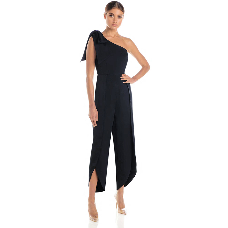 ADYCE New Summer Women Celebrity Runway Jumpsuits One Shoulder Black Bow Sleeveless Ankle Length Sexy Bodycon