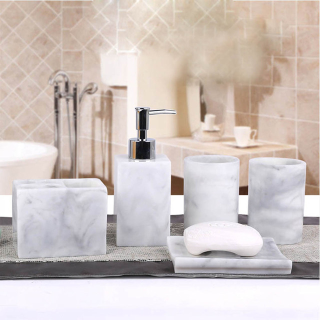 5 Pcs Resin Bath Accessories Set Lotion Dispenser Pump Toothbrush Holder Soap Dish 2 Tumbler Sets