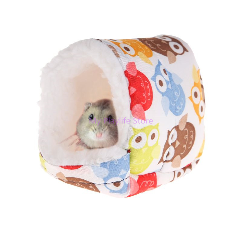 Hamster Nest Warm Winter House Sleep Bed Soft Blend Cotton Cute Owl Plush Floral Pad Cage Ornament Small Pets Products C42