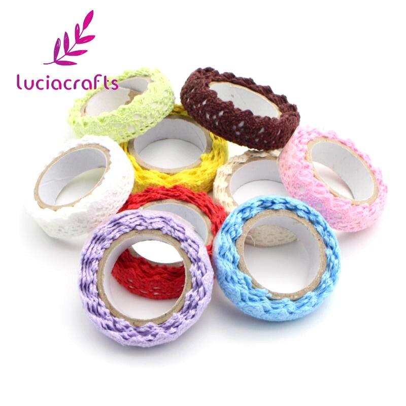 Satış Lucia el sanatları 1yard/lot yaklaşık 18mm pamuk dantel kumaş tığ işi dantel rulo şerit zanaat DIY konfeksiyon dikiş aksesuarları CI1003