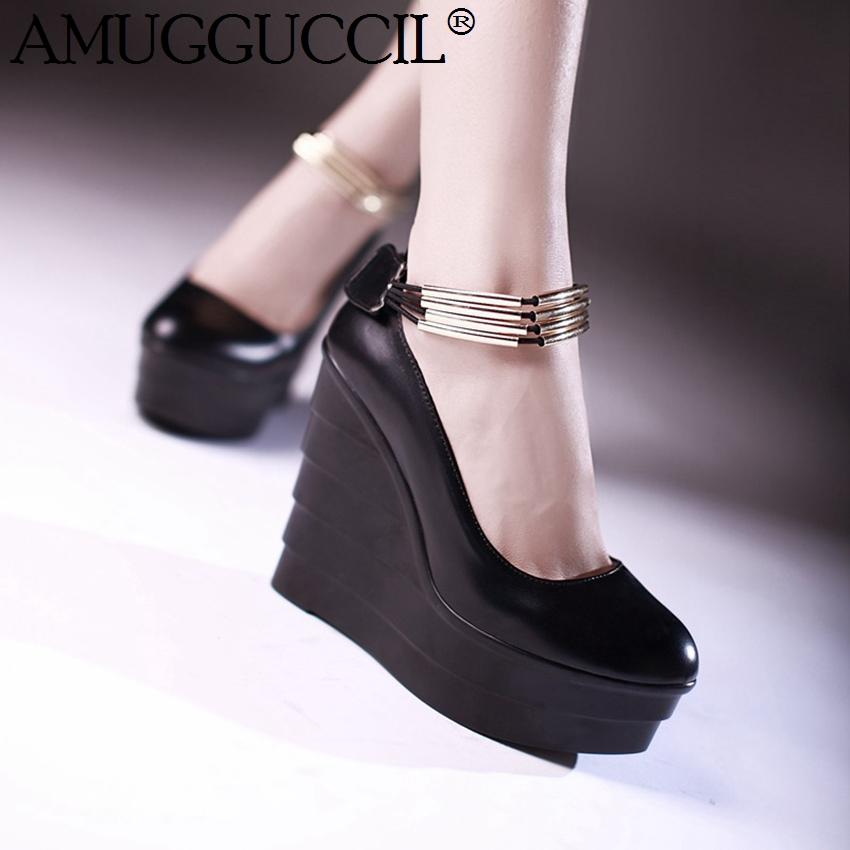 2018 New Arrival Black White Pink Fashion Sweet High Heel Platform Spring Autumn Girls Wedge Shoes Lady Women Pumps D1175 karinluna fashionable wedge high heel women pumps fashion black white heel platform shoes woman casual shoes